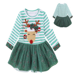 Wholesale Tulle Bow Stripe - Baby Girls Christmas Party Cosplay Costume Princess Deer Elk Dress Stripe Long Sleeve Tulle Bow Bubble Skirt