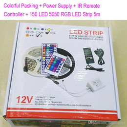 Wholesale Paper Advertisement - Paper Colorful Packing + Power supply 36Watts +24Key IR remote controller +150LEDs 5050 RGB LED strip 5 Meters