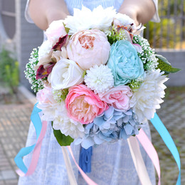 Wholesale High Quality Wedding Bouquet - 2017 Artificial Bouquets for Brides Country Style Forest Bridal Bouquets High Quality 18 Wedding Flowers Gerbera & Peony
