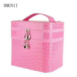 Wholesale Makeup Necklaces - Fashionable Large Crocodile Cosmetic Bag Wholesale Necklace Earrings Box Jewelry Showcase Travel Cleaning makeup Bag Beauty