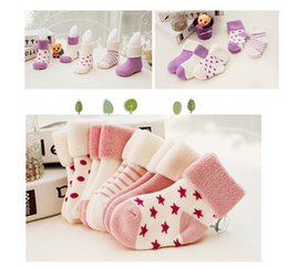 Wholesale Socks Carton - High Quality Soft Cotton Baby Socks Baby Girls Boys Carton Bubble Bootie Socks Star Dot Cute Kids Toddlers Socks Christmas Gifts 5 Pair  set