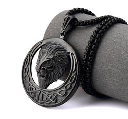 collana di fronte del leone dell'oro Sconti Rapper Men HIP HOP Nightclub in acciaio inossidabile Oro argento nero Lion Head face Collana a catena serpente Re Testa di leone Collane con pendente Gioielli