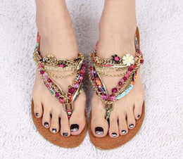Wholesale Thongs Hook - Bohemian Beaded Sandals Handmade Gold Chain Metal Flowers Flat Rhinestone Thong Sandals Sweet Colorful Roman Gladiators Shoes