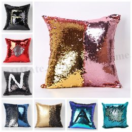 Wholesale Embroidered Pillows - Sequin Glitter Pillow Case Mermaid Pillow Cover Sequin Magic Swipe Cushion Sequin Double Reversible Pillow Cover Fashion Home Décor D209