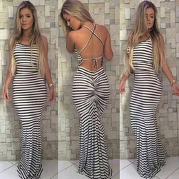 Wholesale Casual Long White Dresses - Black And White Stripes Elastic Tight Condole Sexy Backless Dress Womens Summer Celeb Boho Long Maxi Dress