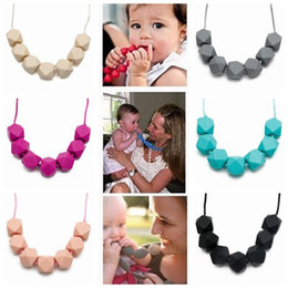 Wholesale Wholesale Teething Necklace Silicone - 2017 silicone chew jewelry kids fashion beaded necklace women necklaces baby food grade silicone teething beads chewing toy teether soother