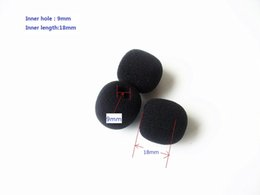 Wholesale Headset Sponges - Foam Microphone Windscreen, mic sponge cover , 9mm inner diameter & 18mm inner length , 10 pcs  lot, Singapore Post