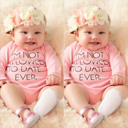 Wholesale Cheap Infant Rompers - Toddler infant baby rompers letters print cotton newborn outfits children clothing set fast free shipping cheap price