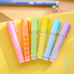 Wholesale Cute Highlighters - Wholesale-6 Pcs lot Cute Kawaii Aihao Chisel Point Colored Highlighter Pen Markers For Children School Supplies Office Accessories Tools