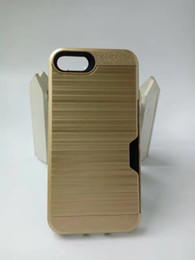 Wholesale Cheap 5s Cases - For iPhone 7 Plus 6S Plus 5S Newest Colorful Cheap PC TPU Dual Layer Defender Armor Card Slot Case Brushed Metal Pocket Cover