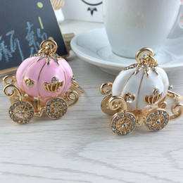 Wholesale Girls Pumpkin - Cinderella Pumpkin Carriage Keychain Key Chain White and Pink Color Gold Plated Alloy Key Ring Wedding Favors Party Gift + DHL free shipping