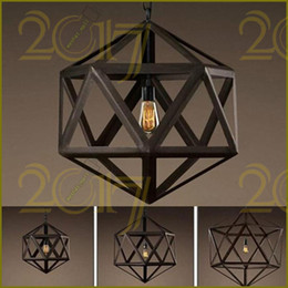 RH Lighting Restoration Hardware Vintage Pendant Lamp RH Loft Pendant Lights  Diamond Steel Polyhedron Pendant Lamp Bar Living Room E27 Bulb