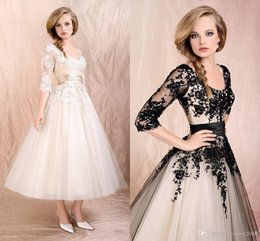 Wholesale Tea Length Wedding Gowns Cap Sleeves - Tea Length Wedding Dresses with Half Sleeves Scoop 1 2 Sleeve Black Appliques Bridal Gowns Ruched Tulle A-Line Black Wedding Dresses L1046
