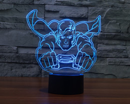 Wholesale New Superman Cartoons - 2017 New Superman 3D Optical Illusion Light 9 Colorful LEDs Acrylic Light Panel DC 5V Factory Wholesale
