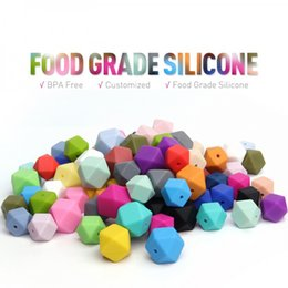 Wholesale Large Pendants Wholesale - Large Hexagon Loose Silicone Beads for DIY Teething Necklace Food Grade Silicone Geometric Beads for Baby Teether BPA Free Safe Baby Beads