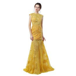 Wholesale Engagement Dresses Sleeves - Engagement Dresses 2017 Robes De Soiree 2017 Longue Yellow Lace Mermaid Evening Dresses Sexy Backless Prom Dress