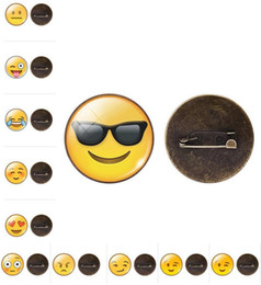 Wholesale Cabochon Brooch - Emoji Brooches QQ WeChat Expression Glass Cabochon Brooches For Women children Fashion Jewelry Gift 13 Style