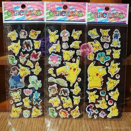 Wholesale Bubble Free Adhesive - New poke Pikachu Anime Cartoon Stickers PVC Adhesive bubble Stickers puffy stickers cute mini stickers for kids Free shipping E1228