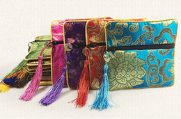 Wholesale Ladies Coin Purses Cloth - High Quality Tassel Small Zipper Pouch Ladies Coin Purse Jewelry Bracelet Storage Bag Chinese Silk brocade Cloth Packaging Pocket 10pcs lot