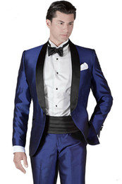 Wholesale Men Italian Pants - Italian Embroideries Groom's Wear Blue Smoking Dinner jacket Wedding Suits For Men Best man's 3 Peices Suits(Jacket+Pants+Bowtie)