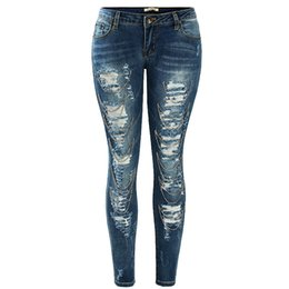 Wholesale Tear Jeans For Women - Women`s Fashion Low Waist Ultra Stretch Handmade Chain Decor Ripped Torn Denim Jeans For Woman
