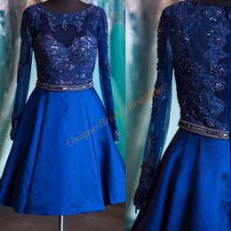 Wholesale Long Purple Sparkly Homecoming Dress - 2016 Homecoming Dresses Long Sleeves with Crew Neck and Sparkly Beading Appliques Satin Royal Blue Short Prom Gowns Custom Made