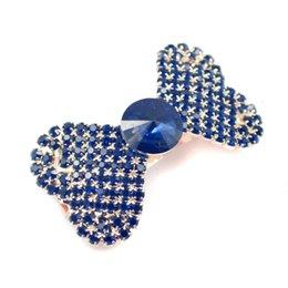 Wholesale Diamante Hair Bow - 6 PCS Navy Blue Rhinestone Heart Hair Bow Clip Barrette Crystal Hairpins Diamante Hair Accessories For Ladies