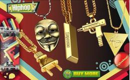 Wholesale Bat Pendants - Cube Bar Bullion Necklace & Pendant Hot Sale Hip Hop Baseball Bat Gun Necklace&Pendant GOLD Silver Leaf Hiphop Long Chains Necklaces Men Wo