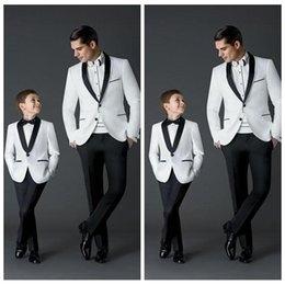 Wholesale Boys Size Dress Suit - Custom Made 2017 New Fashion Groom Tuxedos Men's Wedding Dress Prom Suits Father And Boy Tuxedos (Jacket+Pants+Bow) Formal Wear For Men Boy