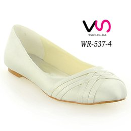 Wholesale Black Satin Ballet Flats - Ivory Nice design Comfortable Falt Women Bridal Wedding Shoes Wedding Dress Shoes From Size 35-Size 42 Any Color is accepted