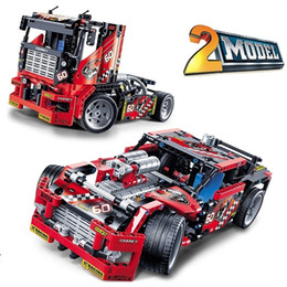 Wholesale Building Blocks Truck - Educational Toy 608pcs Race Truck Car 2 In 1 Transformable Model Building Block Sets DIY Toys Compatible With Legoe Technic