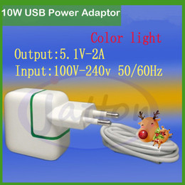 Wholesale Green Power Android - Factory price Green LED 10W USB Power Adapter for iPhone  iPhone Plus iPad Mini Air EU Euro Travel Charger for Android Mobile Phone DHL free