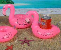 Wholesale Kids Bath Toy Holder - 12pcs lot Flamingo Inflatable Drink Botlle Holder Lovely Pink Floating Bath Kids Toys Christmas Gift For Kids S30263