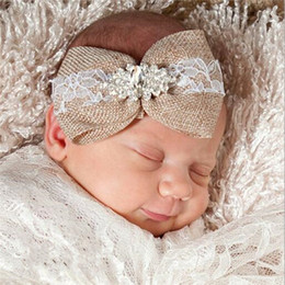 Wholesale Rustic Lace - Rustic Burlap Lace Baby Headband Big Bow Baby Girls Headband Baby Party Headwraps Rhinestone Newborn Hair accessory