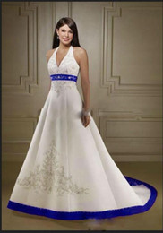 Wholesale Elegant Beaded Satin Bridal Gowns - 2016 Elegant Custom Made Halter Neck Wedding Dresses Exquisite Embrodiery Beaded Satin Court Train Bridal Gown Country Style Vestidos