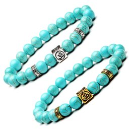Wholesale Om Beads - 2 Styles Turquoise Beads Bracelets With Square OM Natural 8mm Beaded Stone Charm Jewelry Punk Cuffs Bangles Turquoise Bracelet