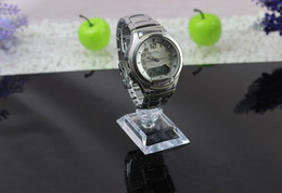 Wholesale Wholesale Plastic Watch Stand - Wholesale 2016 best sale C rings style Transparent Plastic Wrist Watch Display Holder Rack Store Shop Show Stand 100pcs
