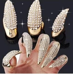 Wholesale nail art fingers - Crystal Rhinestone Nail Ring Gold Black Plated Paw Talon Cat Claw Rings Finger Rings Thumb Ring Nail Arts punk Rock Jewelry for Women Gift