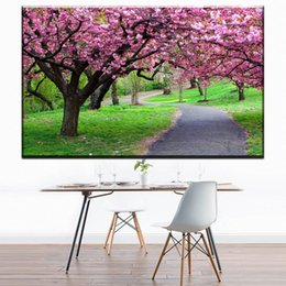 Wholesale Blossom Tree Pictures - ZZ1693 beautiful japanese cherry blossom tree scenery canvas oil art painting wall pictures for livingroom bedroom decoration