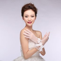 Wholesale Pageant Gloves - Vintage In Stock Sheer Lace Bridal Gloves Full Finger Wrist Length Short Pageant Evening Women Gloves Lace Bow Wedding Dress Accessory