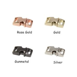 Wholesale Collar Shackles - 10pcs lot 10mm Gold and Black metal paracord buckle side release buckle small dog collar clips Paracord Shackles Accessories