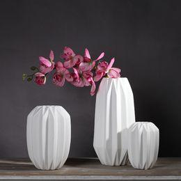 Wholesale Minimalist Vases - paper folding vase ceramic crafts 4pcs lot of creative modern minimalist style living room decoration ornaments wholesale