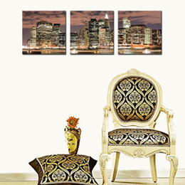 Wholesale Framed Fine Art - 3 Panel New York City Night Canvas Print Stretched Canvas No Frame Featuring The perfect fine art addition to your home or office decor