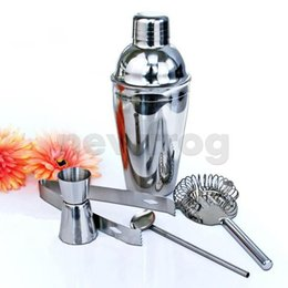 Wholesale Drink Mixer Kit - Practical 5Pcs Stainless Steel Cocktail Shaker Mixer Drink Bartender Kit Bars Set Tools