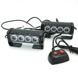 Wholesale 12v Warning Lights - New 12V 2X4 LED Car Motorcycle Flash Light Aluminum Alloy LED Strobe Flash Warning Police Truck Light Flashing Firemen Lights