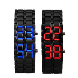 Wholesale Men Lava Iron Watch - Relogio Masculino 2017 New Arrival Watch Men 2x Lava Style Iron Samurai Black Bracelet LED Digital-watch square-male-watch Gift