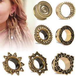 Wholesale Plug Double Flare - 224piece mix 7style 8sizes Antique Brass Rose of Sharon Flesh Tunnel Double Flared Ear Plugs Piercing Gauges 8mm-20mm Fashion Body Jewelry