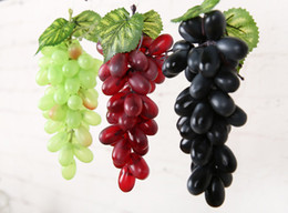 Wholesale Plastic Wedding Flowers - Artificial Fruit Grapes Plastic Fake Decorative Fruit Bunches Lifelike Home Wedding Party Garden Decor mini simulation fruit vegetables