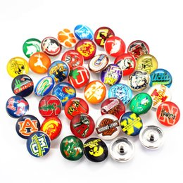 Wholesale Sports Team Jewelry - Mix 32pcs lot NCAA sports team logo snap buttons 18mm glass snap charms fit SIY snaps charms jewelry bracelet bangle