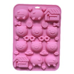 Wholesale Pig Soap Mold - Pig House Glasses Emoji Cute Cartoon Silicone Chocolate Cake Mold Soap Mold DIY Free Shipping